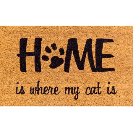 Fußmatte ''Home is my Cat'' Kokosmatte